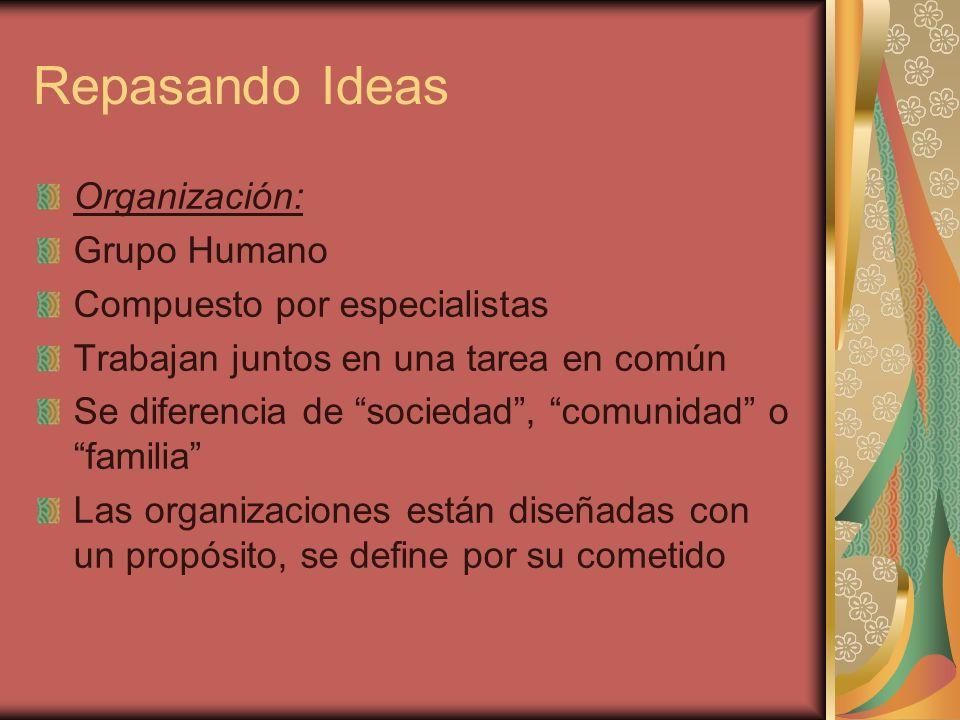 Repasando Ideas Organización: Grupo Humano Compuesto por especialistas Trabajan juntos en una tarea en común Se diferencia de sociedad, comunidad o fa