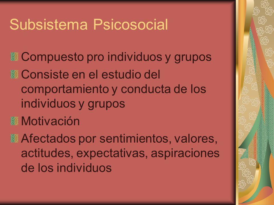 Subsistema Psicosocial Compuesto pro individuos y grupos Consiste en el estudio del comportamiento y conducta de los individuos y grupos Motivación Af