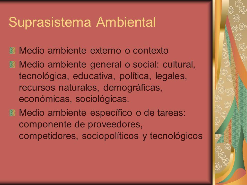 Suprasistema Ambiental Medio ambiente externo o contexto Medio ambiente general o social: cultural, tecnológica, educativa, política, legales, recurso