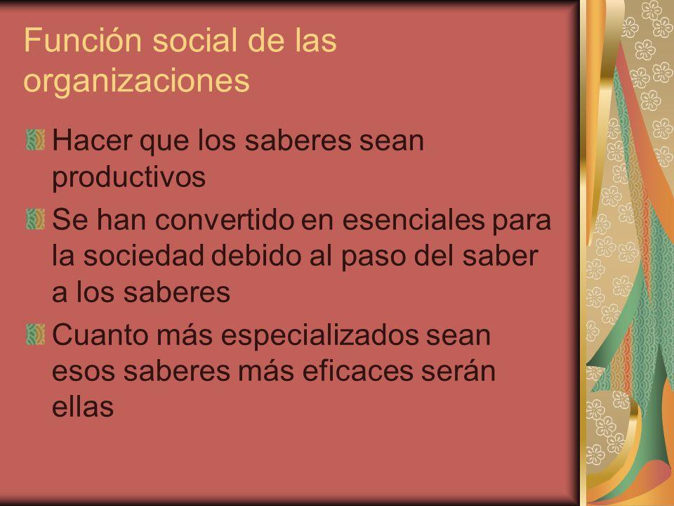 Función social de las organizaciones Hacer que los saberes sean productivos Se han convertido en esenciales para la sociedad debido al paso del saber