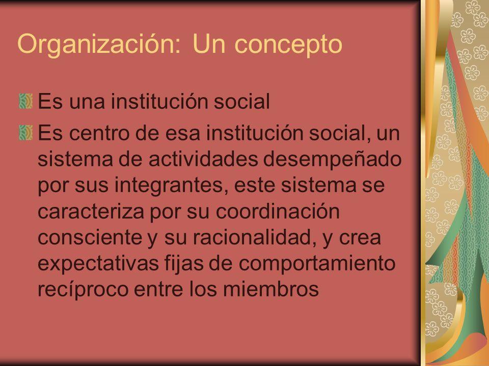 Organización: Un concepto Es una institución social Es centro de esa institución social, un sistema de actividades desempeñado por sus integrantes, es