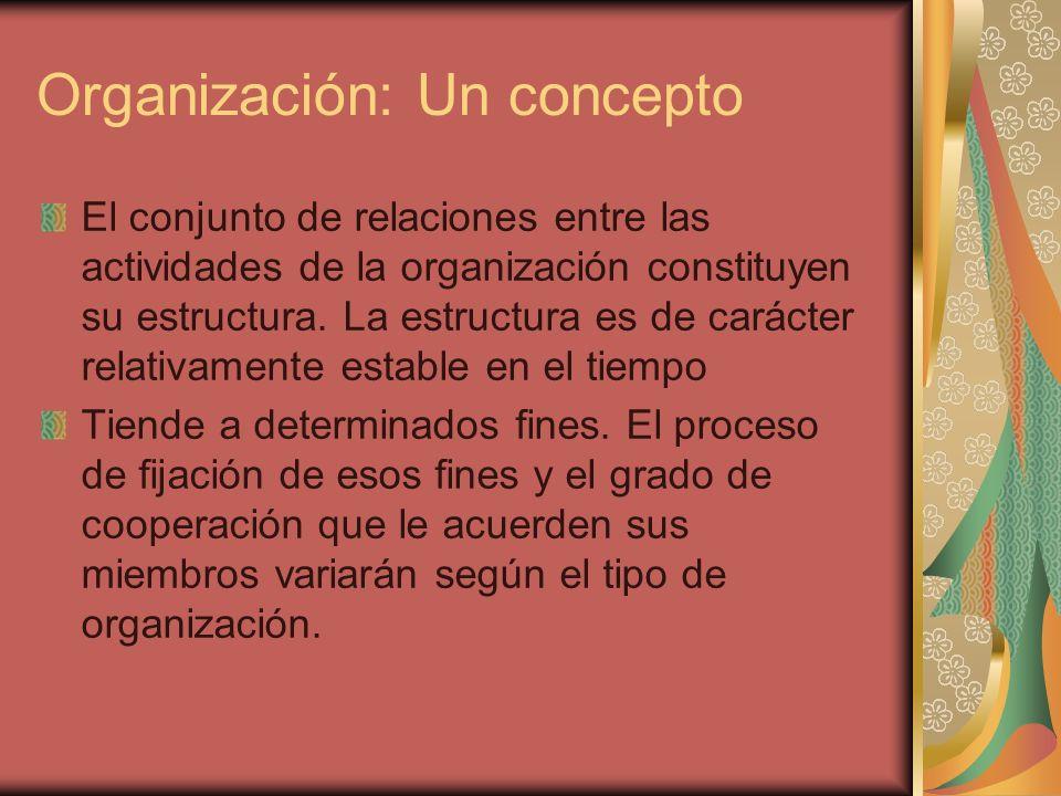 Organización: Un concepto Sus características, comportamiento y objetivos son profundamente incididos por las características del medio económico, político,cultural, social, etc.