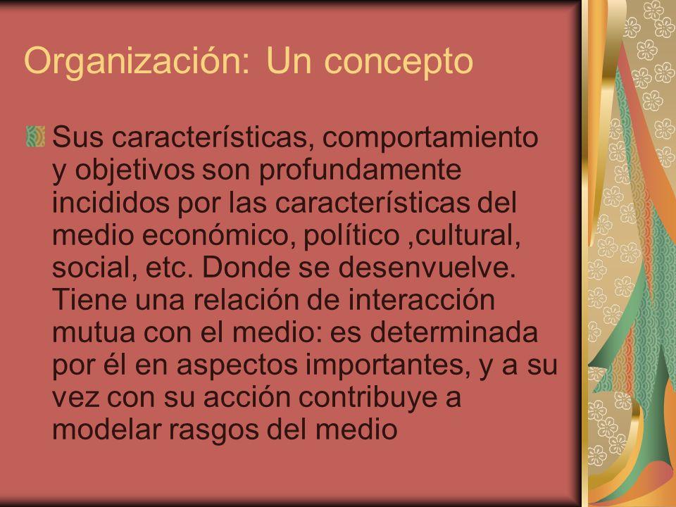 Organización: Un concepto Sus características, comportamiento y objetivos son profundamente incididos por las características del medio económico, pol