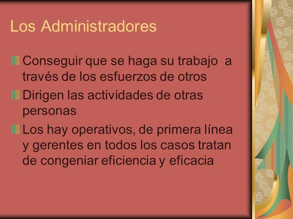 Los Administradores Conseguir que se haga su trabajo a través de los esfuerzos de otros Dirigen las actividades de otras personas Los hay operativos,