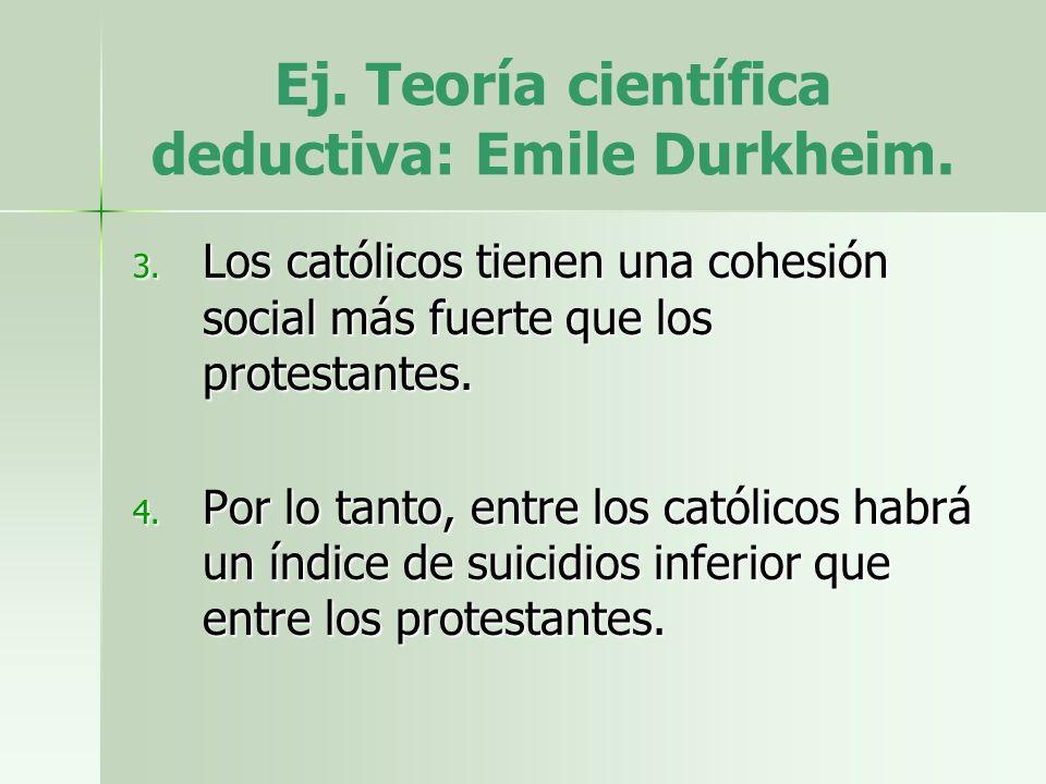 Ej. Teoría científica deductiva: Emile Durkheim. 3. Los católicos tienen una cohesión social más fuerte que los protestantes. 4. Por lo tanto, entre l