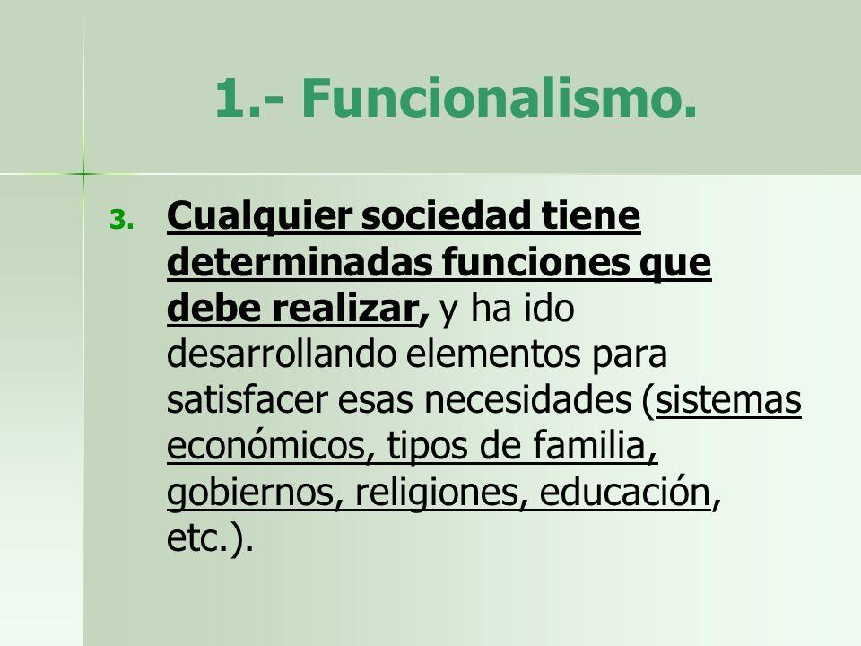 1.- Funcionalismo. 3. 3. Cualquier sociedad tiene determinadas funciones que debe realizar, y ha ido desarrollando elementos para satisfacer esas nece