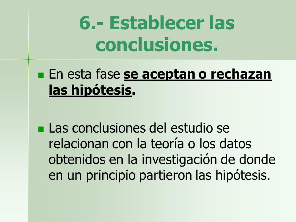 6.- Establecer las conclusiones. En esta fase se aceptan o rechazan las hipótesis. Las conclusiones del estudio se relacionan con la teoría o los dato