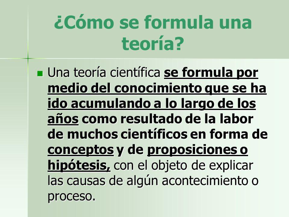 ¿Cómo se formula una teoría? Una teoría científica se formula por medio del conocimiento que se ha ido acumulando a lo largo de los años como resultad