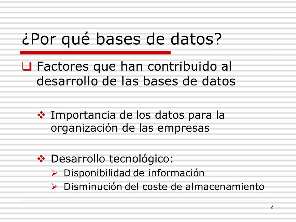 2 ¿Por qué bases de datos? Factores que han contribuido al desarrollo de las bases de datos Importancia de los datos para la organización de las empre