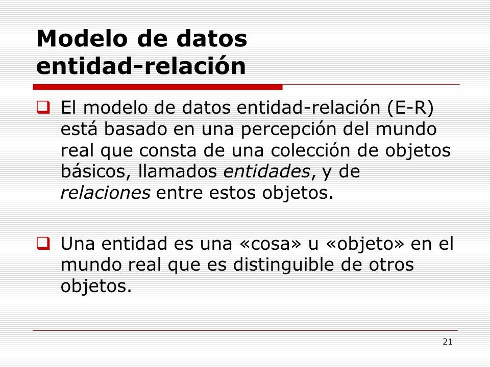 21 Modelo de datos entidad-relación El modelo de datos entidad-relación (E-R) está basado en una percepción del mundo real que consta de una colección