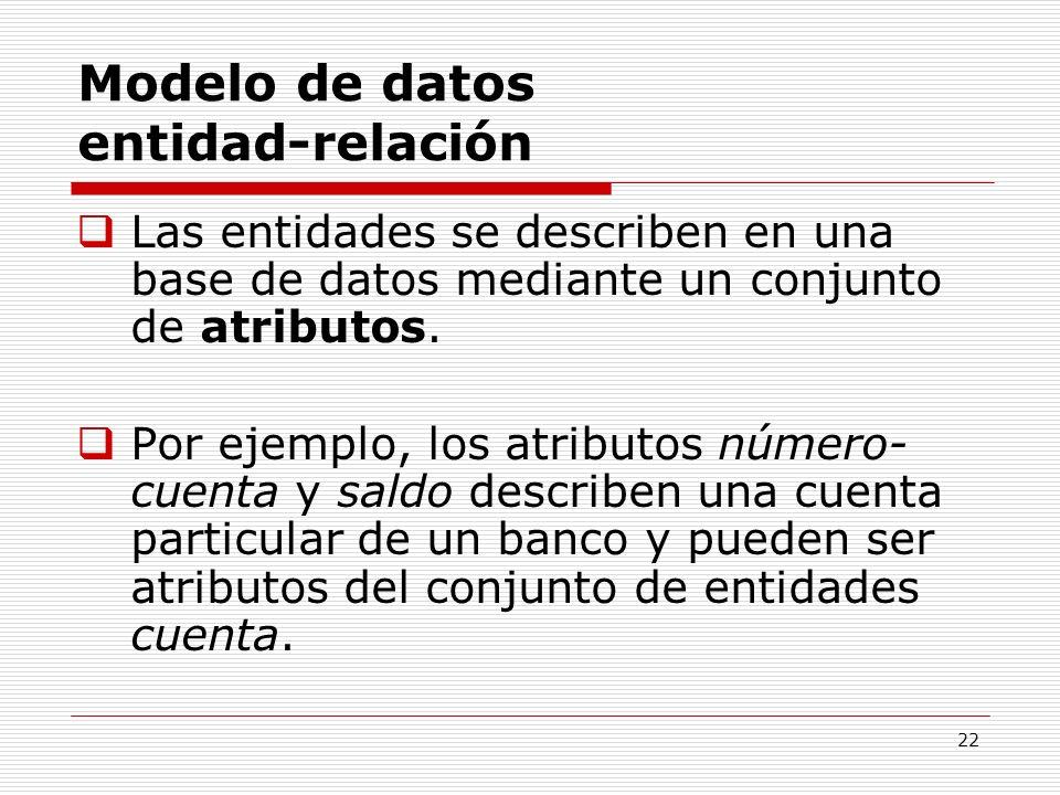22 Modelo de datos entidad-relación Las entidades se describen en una base de datos mediante un conjunto de atributos. Por ejemplo, los atributos núme