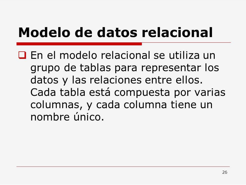 26 Modelo de datos relacional En el modelo relacional se utiliza un grupo de tablas para representar los datos y las relaciones entre ellos. Cada tabl