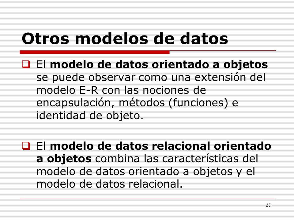 29 Otros modelos de datos El modelo de datos orientado a objetos se puede observar como una extensión del modelo E-R con las nociones de encapsulación