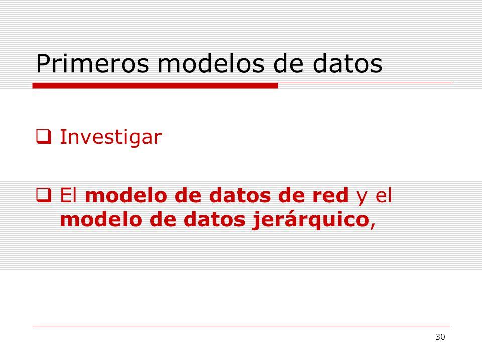 30 Primeros modelos de datos Investigar El modelo de datos de red y el modelo de datos jerárquico,