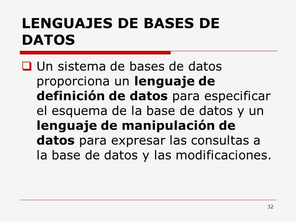 32 LENGUAJES DE BASES DE DATOS Un sistema de bases de datos proporciona un lenguaje de definición de datos para especificar el esquema de la base de d
