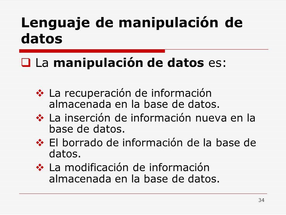 34 Lenguaje de manipulación de datos La manipulación de datos es: La recuperación de información almacenada en la base de datos. La inserción de infor