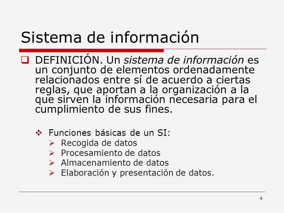 4 Sistema de información DEFINICIÓN. Un sistema de información es un conjunto de elementos ordenadamente relacionados entre sí de acuerdo a ciertas re