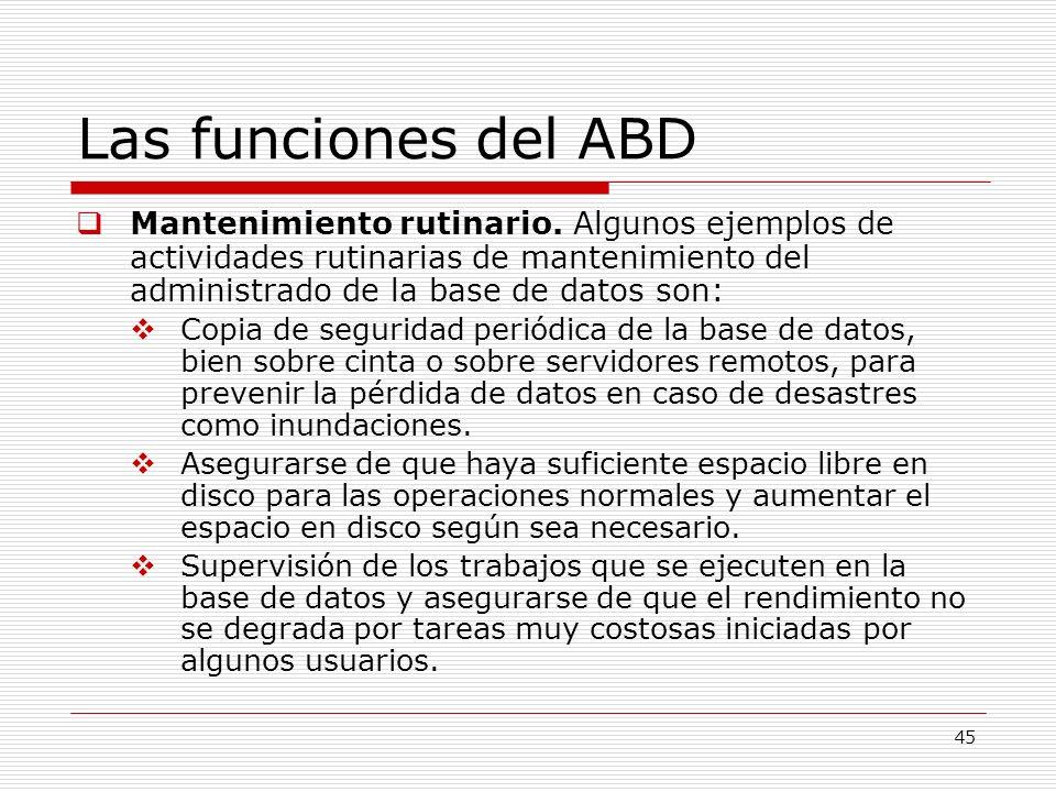 45 Las funciones del ABD Mantenimiento rutinario. Algunos ejemplos de actividades rutinarias de mantenimiento del administrado de la base de datos son