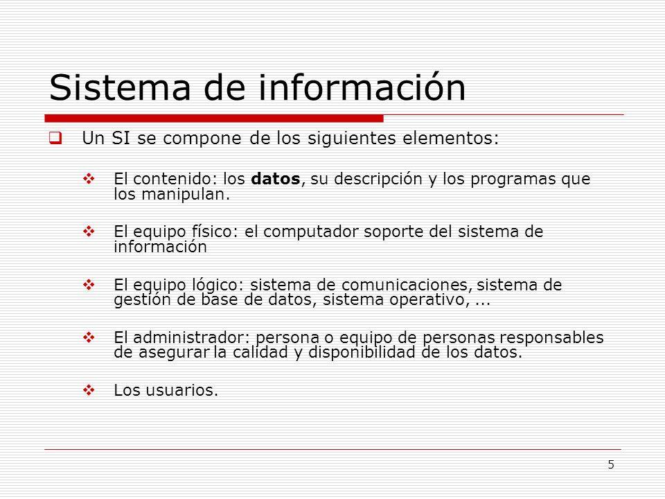 5 Sistema de información Un SI se compone de los siguientes elementos: El contenido: los datos, su descripción y los programas que los manipulan. El e