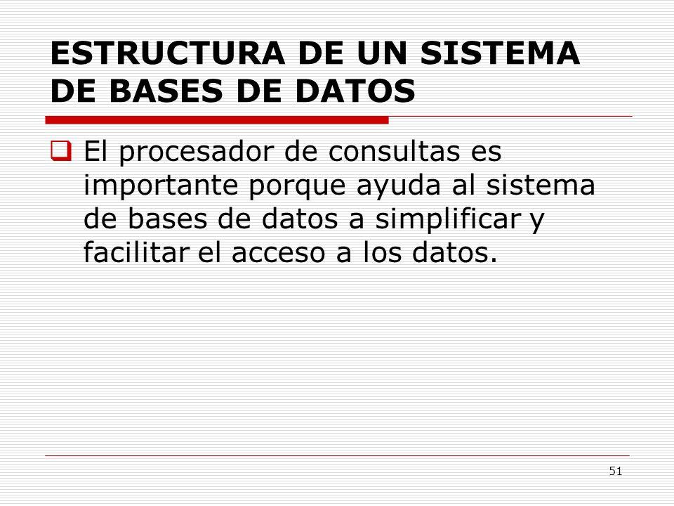51 ESTRUCTURA DE UN SISTEMA DE BASES DE DATOS El procesador de consultas es importante porque ayuda al sistema de bases de datos a simplificar y facil