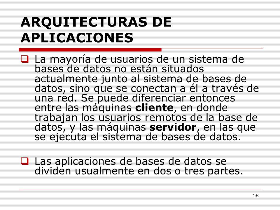 58 ARQUITECTURAS DE APLICACIONES La mayoría de usuarios de un sistema de bases de datos no están situados actualmente junto al sistema de bases de dat