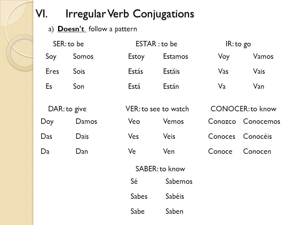 VI.Irregular Verb Conjugations a)Doesn't follow a pattern Soy Eres Es Somos Sois Son Estoy Estás Está Estamos Estáis Están DAR: to give Doy Das Da Dam