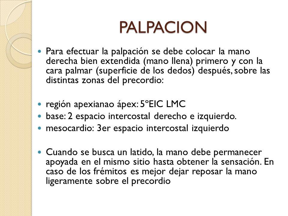 PALPACION Para efectuar la palpación se debe colocar la mano derecha bien extendida (mano llena) primero y con la cara palmar (superficie de los dedos
