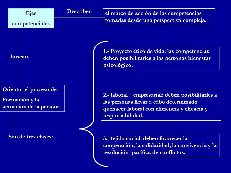 Ejes competenciales buscan Orientar el proceso de Formación y la actuación de la persona Son de tres clases: el marco de acción de las competencias to