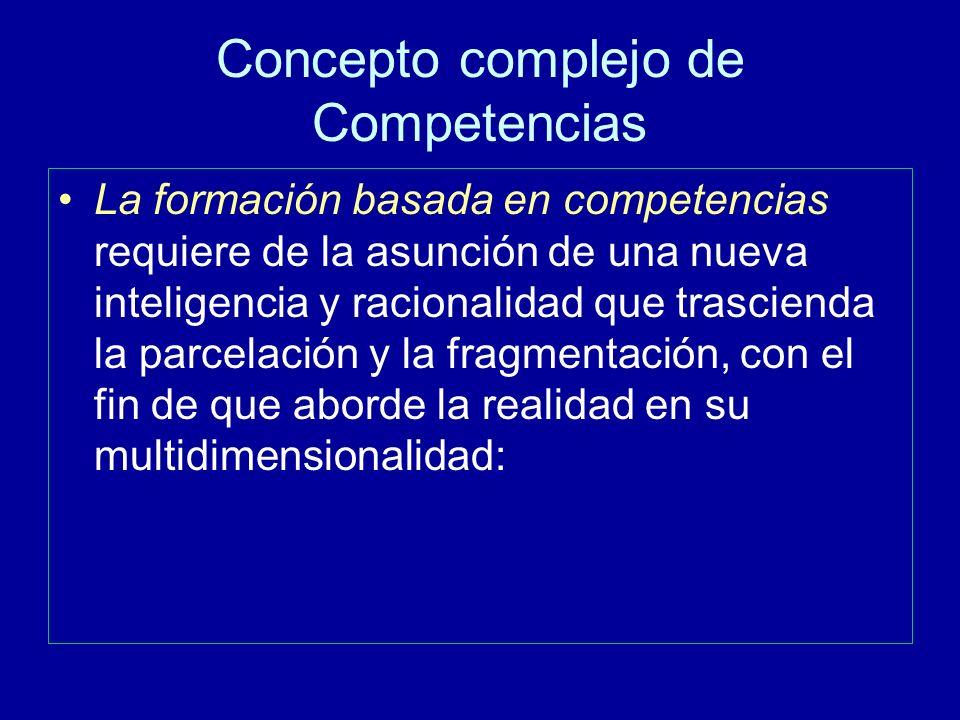 Concepto complejo de Competencias La formación basada en competencias requiere de la asunción de una nueva inteligencia y racionalidad que trascienda