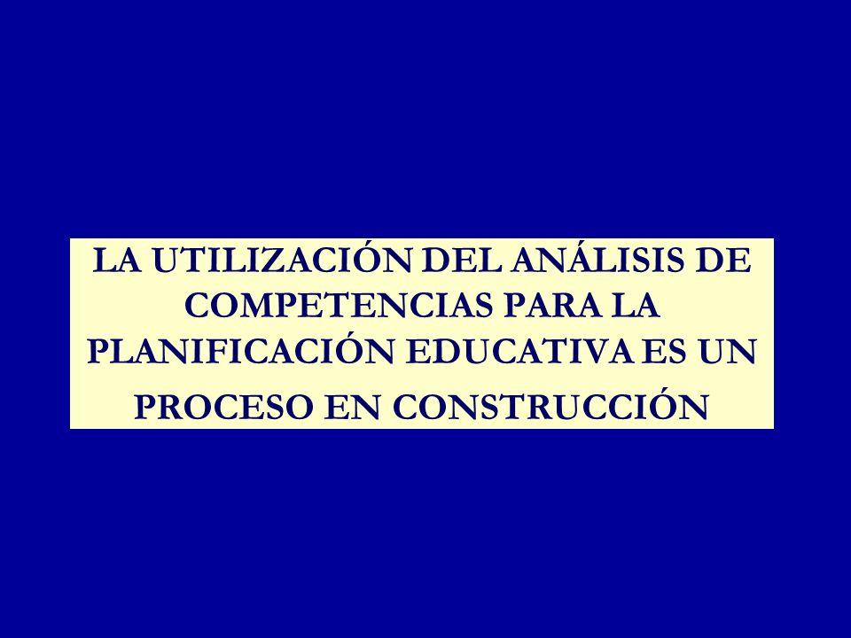 LA UTILIZACIÓN DEL ANÁLISIS DE COMPETENCIAS PARA LA PLANIFICACIÓN EDUCATIVA ES UN PROCESO EN CONSTRUCCIÓN