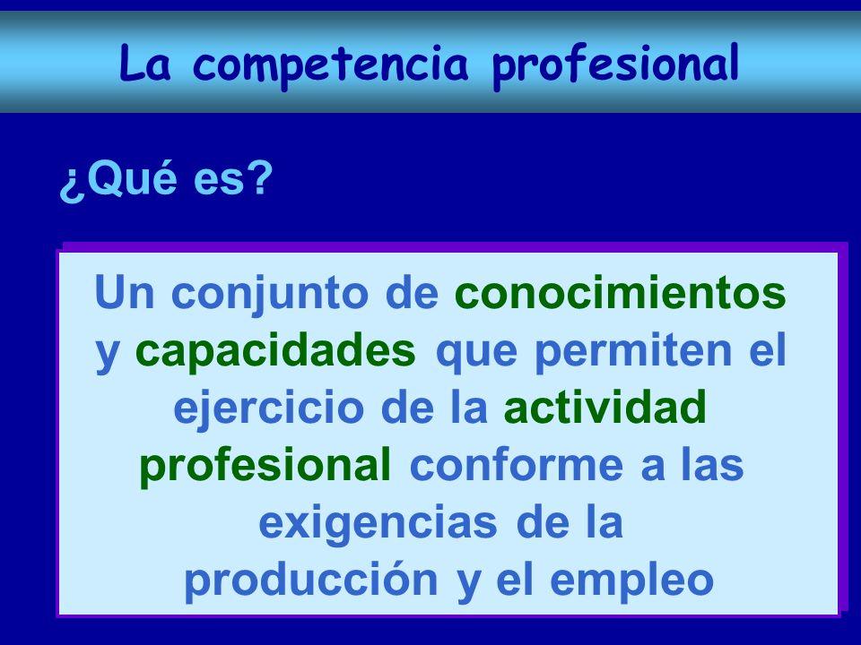 ¿Qué es? Un conjunto de conocimientos y capacidades que permiten el ejercicio de la actividad profesional conforme a las exigencias de la producción y