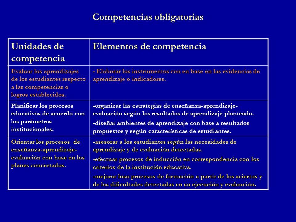 Competencias obligatorias Unidades de competencia Elementos de competencia Evaluar los aprendizajes de los estudiantes respecto a las competencias o l