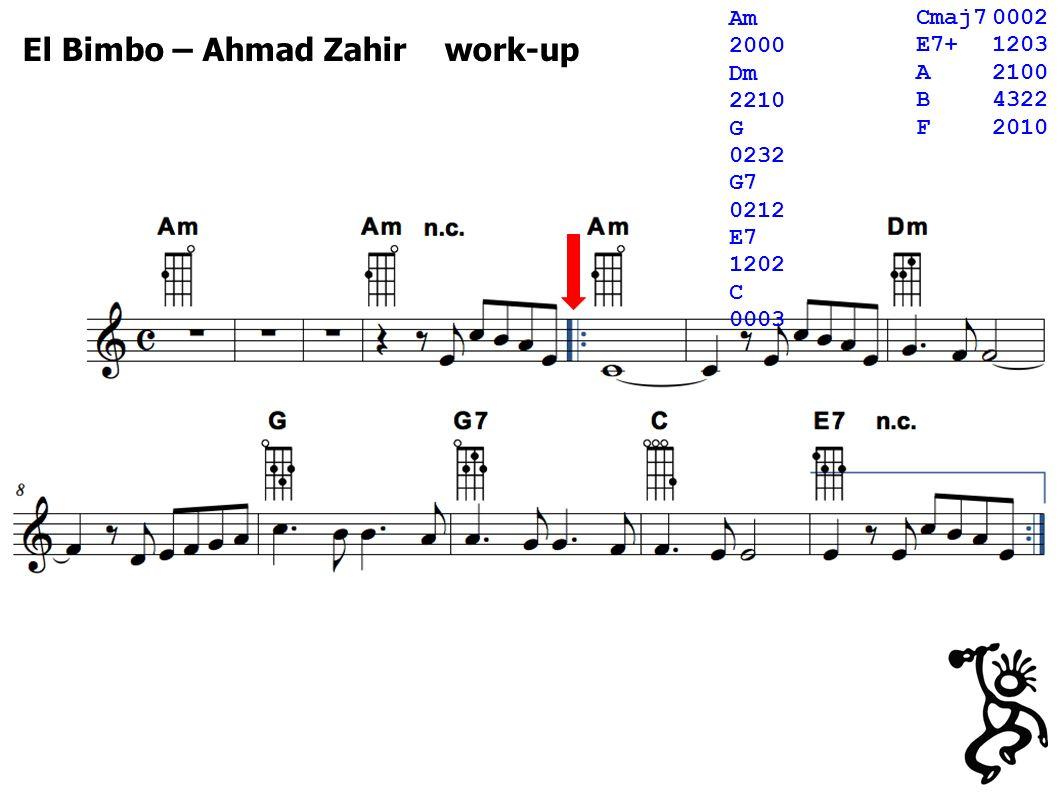 El Bimbo – Ahmad Zahir work-up Cmaj70002 E7+1203 A2100 B4322 F2010 Am 2000 Dm 2210 G 0232 G7 0212 E7 1202 C 0003