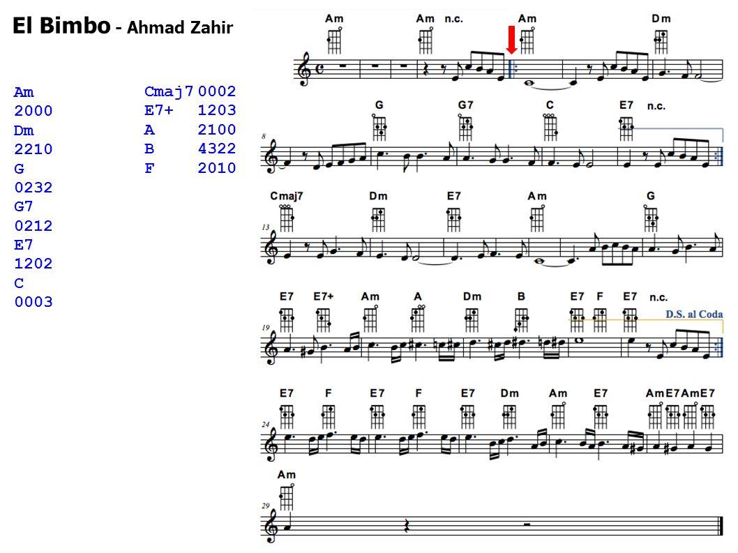 Cmaj70002 E7+1203 A2100 B4322 F2010 Am 2000 Dm 2210 G 0232 G7 0212 E7 1202 C 0003 El Bimbo - Ahmad Zahir