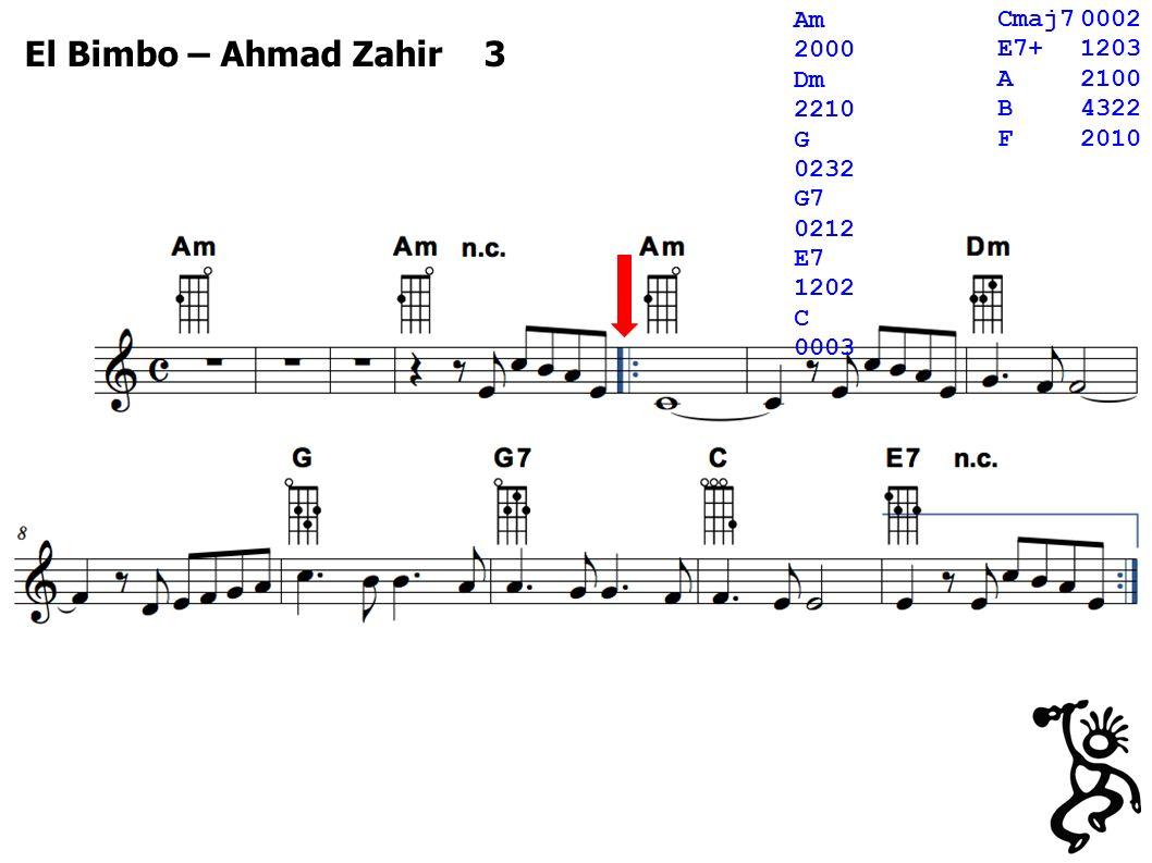 El Bimbo – Ahmad Zahir 3 Cmaj70002 E7+1203 A2100 B4322 F2010 Am 2000 Dm 2210 G 0232 G7 0212 E7 1202 C 0003