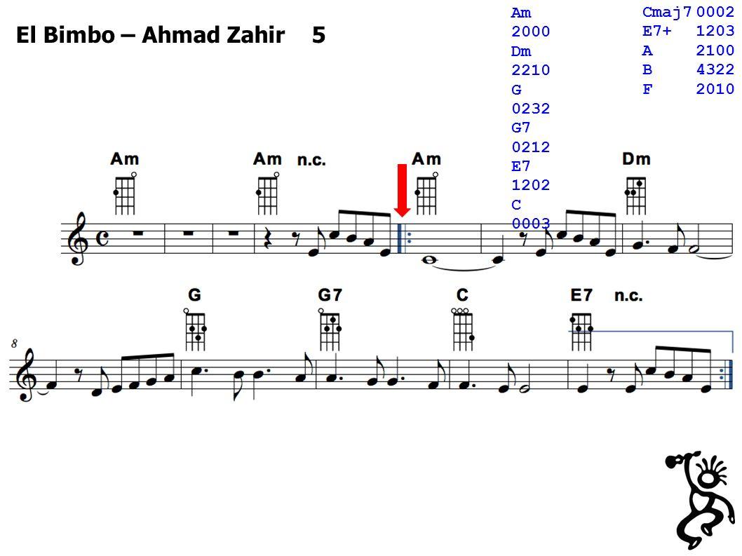 El Bimbo – Ahmad Zahir 5 Cmaj70002 E7+1203 A2100 B4322 F2010 Am 2000 Dm 2210 G 0232 G7 0212 E7 1202 C 0003