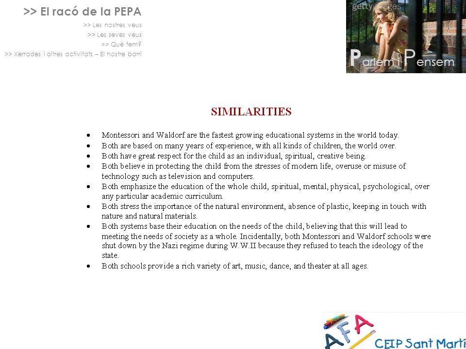 >> El racó de la PEPA >> Les nostres veus >> Les seves veus >> Què fem? >> Xerrades i altres activitats – El nostre barri P arlem i P ensem