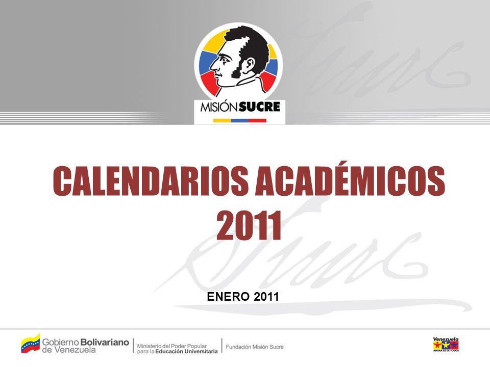 CALENDARIOS ACADÉMICOS 2011 ENERO 2011
