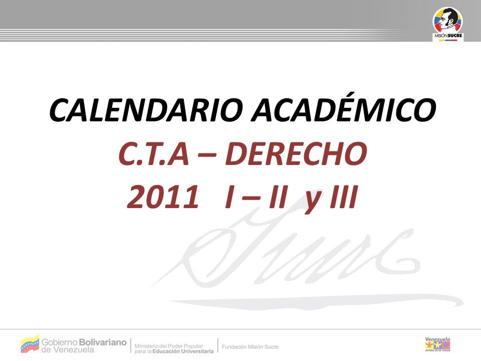 ACTIVIDADFECHA Período de inscripción y organización de horarios 14/3/11 al 20/3/2011 Inicio de actividades académicas de los Programas Nacionales de Formación 21/3/2011 Vacaciones de Semana Santa18/4/2011 al 24/4/2011 Reinicio de actividades académicas25/4/2011 Culminación de actividades académicas12/6/2011 Recuperación y entrega de notas13/6/2011 al 19/6/2011 Finalización de los PNF19/6/2011 CALENDARIO ACADÉMICO C.T.A – DERECHO 2011-I Distribución de las 14 semanas del trimestre: 2 administrativas y 12 académicas.