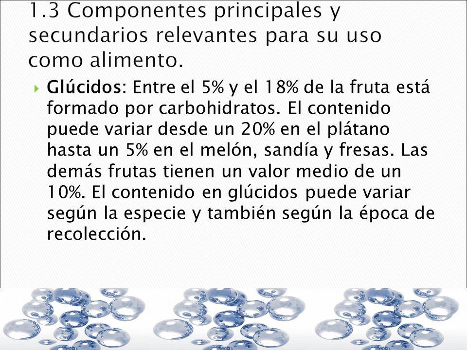 Glúcidos: Entre el 5% y el 18% de la fruta está formado por carbohidratos. El contenido puede variar desde un 20% en el plátano hasta un 5% en el meló