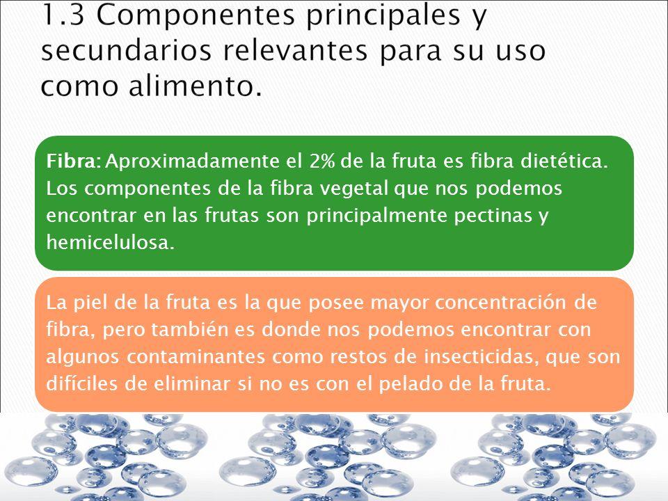 Fibra: Aproximadamente el 2% de la fruta es fibra dietética. Los componentes de la fibra vegetal que nos podemos encontrar en las frutas son principal