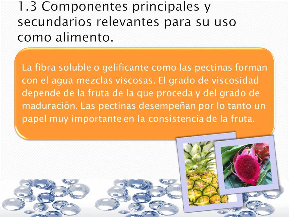 La fibra soluble o gelificante como las pectinas forman con el agua mezclas viscosas. El grado de viscosidad depende de la fruta de la que proceda y d