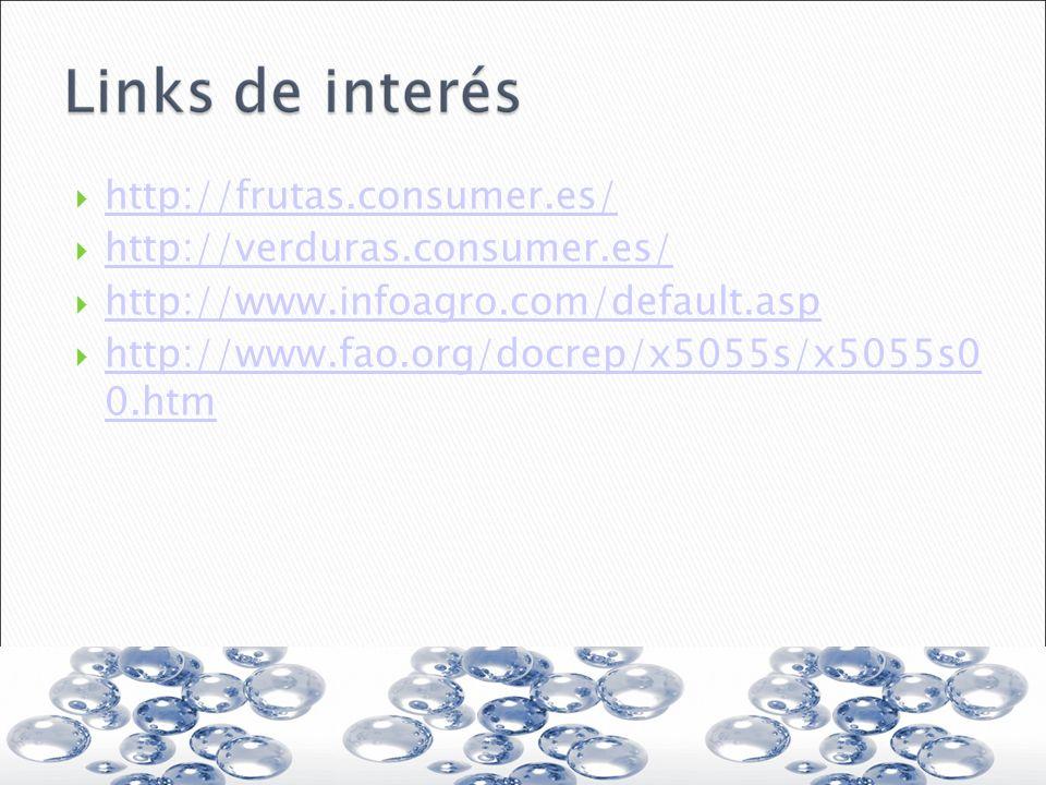 http://frutas.consumer.es/ http://verduras.consumer.es/ http://www.infoagro.com/default.asp http://www.fao.org/docrep/x5055s/x5055s0 0.htm http://www.