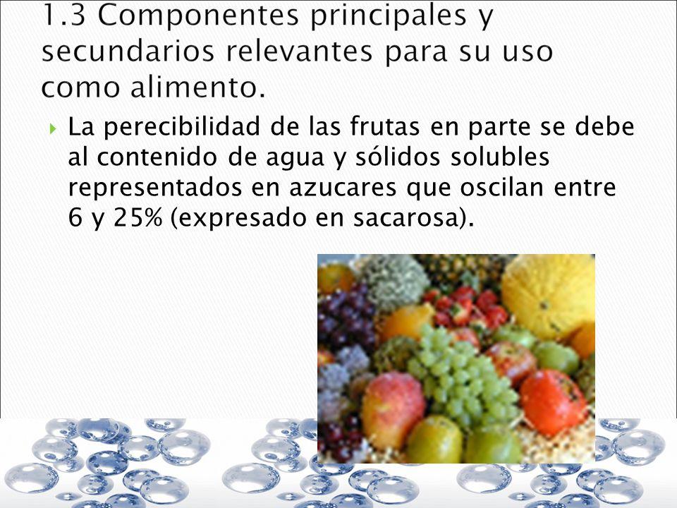 La perecibilidad de las frutas en parte se debe al contenido de agua y sólidos solubles representados en azucares que oscilan entre 6 y 25% (expresado