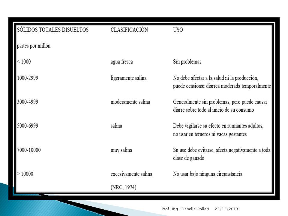23/12/2013 Prof. Ing. Gianella Polleri SOLIDOS TOTALES (ST) Todos los sólidos en el agua residual o aguas de desecho, incluyendo sólidos suspendidos y