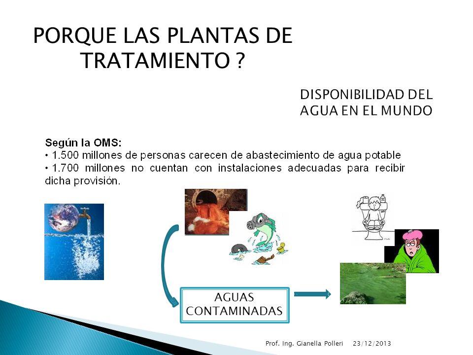 23/12/2013Prof. Ing. Gianella Polleri PORQUE LAS PLANTAS DE TRATAMIENTO ? AGUAS CONTAMINADAS
