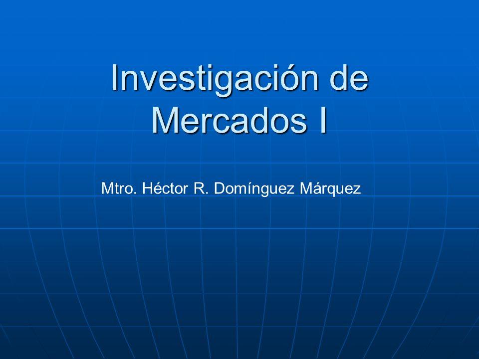 Investigación de Mercados I Mtro. Héctor R. Domínguez Márquez
