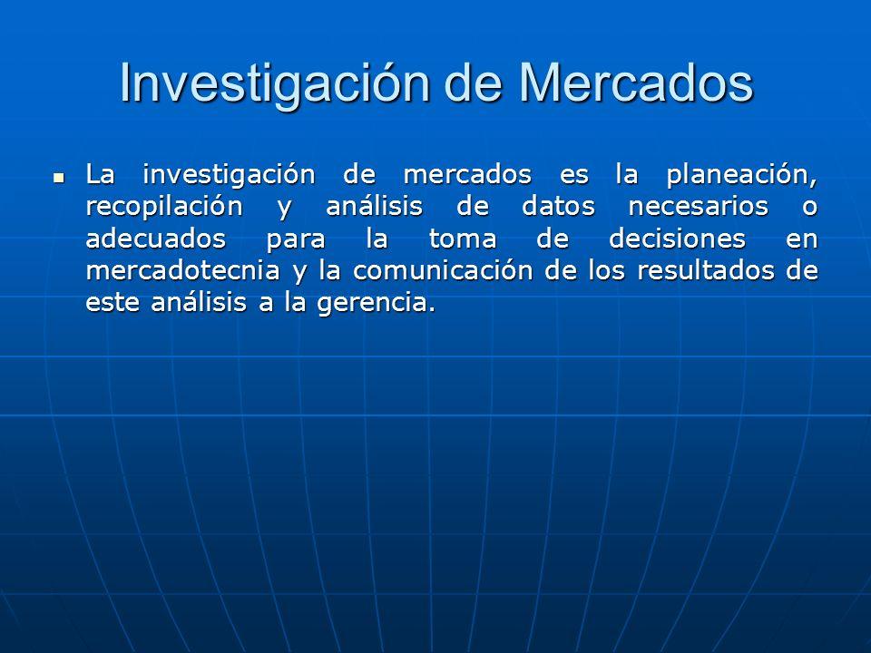 Investigación de Mercados La investigación de mercados es la planeación, recopilación y análisis de datos necesarios o adecuados para la toma de decis