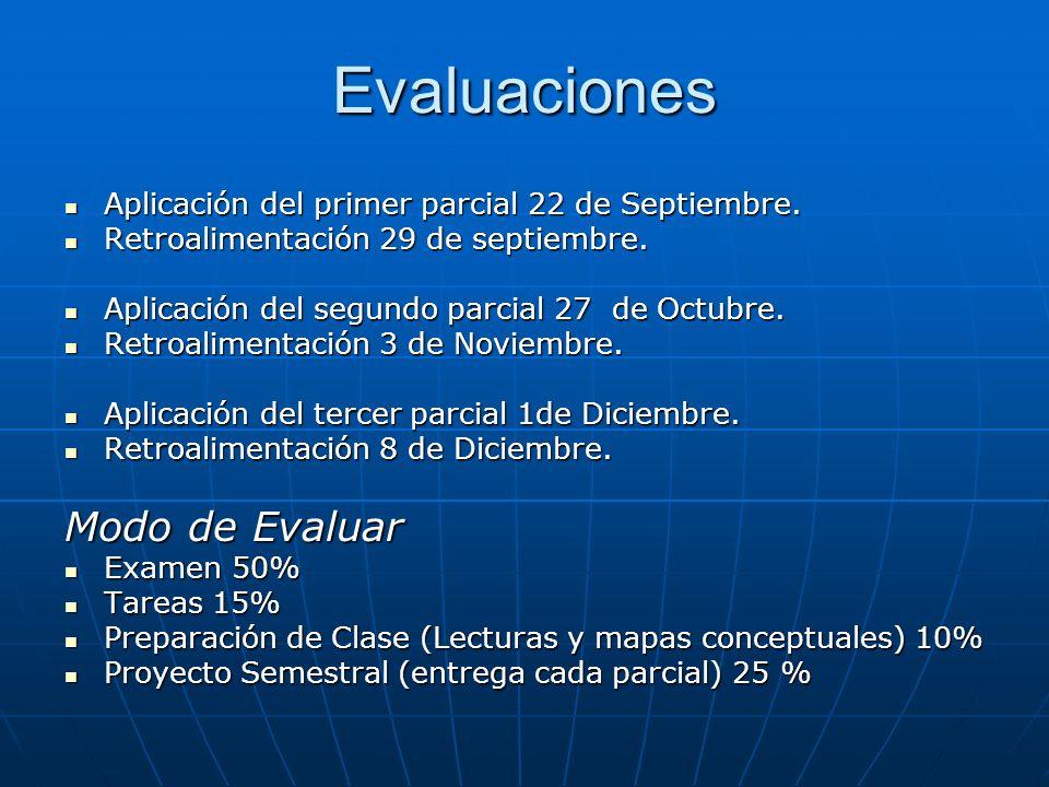 Evaluaciones Aplicación del primer parcial 22 de Septiembre. Aplicación del primer parcial 22 de Septiembre. Retroalimentación 29 de septiembre. Retro