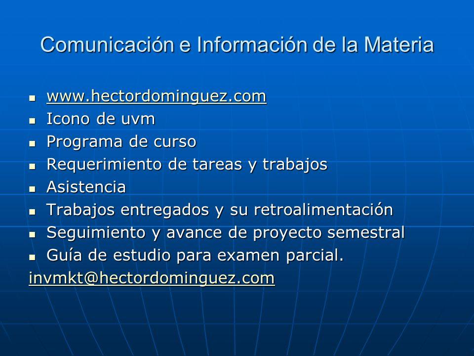 Comunicación e Información de la Materia www.hectordominguez.com www.hectordominguez.com www.hectordominguez.com Icono de uvm Icono de uvm Programa de